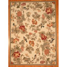 Insert a hint of splendor to your home with a superb rug from China. This hand-tufted wool area rug offers a pleasant floral design with birds in hues of beige, green, red and blue.