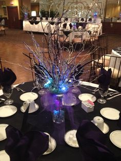 Colored Twigs With Led Lights And Beads Maravela S Banquets Catering Table Topper Ideas