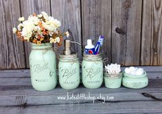 Mason Jar Bathroom Kit. Ball Mason Jars. Rustic Home Decor. Sea Foam Green. Green Farmhouse Bathroom Decor. Bathroom Soap Dispenser. Rustic. by Kateslittleshop on Etsy