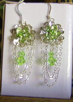 Stunning Waterfall Earrings of Peridot Green Crystals and Silver by RubySlipper