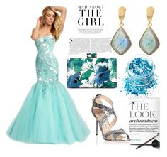 Strapless Sleeveless Tulle Prom Dress With Beaded by johnnymuller on Polyvore featuring Jimmy Choo, Juvi, In Your Dreams and Kershaw