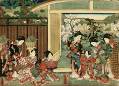 Utagawa Kunisada (1786-1865) 歌川国貞 Garden with Cherry Blossoms, 1856