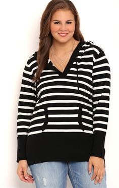 Deb Shops Plus Size Long Sleeve Striped Pullover Sweater with Kanga Pocket $22.00