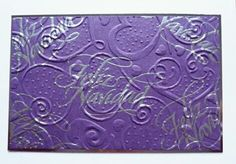Spellbinder embossing folder to create background on which i stamped & embossed 'Feliz Navidad'
