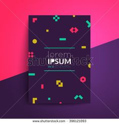 Brochure cover design. Colorful geometric shapes on dark background. A4 format template for business card,poster,flyer etc.