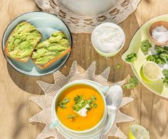 Creamy Mexican lime, chilli and carrot soup with smashed avo toast By Nadia Lim