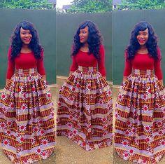 60 Ways to Style Your Ankara Skirts - Wedding Digest Naija African Dresses For Women, African Attire, African Wear, African Women, African Dashiki, African Outfits, African Clothes, African Style, African Print Dress Designs