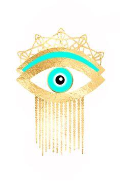 Hamsa Art, Evil Eye Art, Hamsa Design, Eyes Wallpaper, Gold Foil Print, Arte Pop, Cat Art, Illustration Art, Artsy