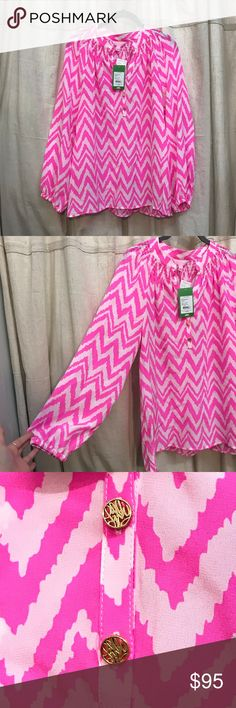 """Lilly Pulitzer Chevron Blouse Hot pink oversized long sleeve blouse.  Bust 20"""" Length 26""""  RRH11-1628 Lilly Pulitzer Tops Blouses"""