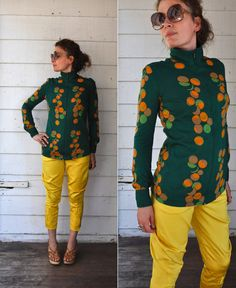 Vintage Diane Von Furstenberg Zip Up Blouse 1970s Made in Italy Green with Orange, green, beige polka dot bubbles  Estimated size S to M  Flaws :