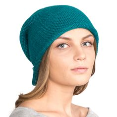 Шапки : Вязаная женская шапка SH-608/42 бирюзовая