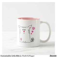 Customizable: Little Alfie Two-Tone Coffee Mug. Customise this fun and cute little Alfie kitty illustration. Cat Coffee Mugs Cat Coffee Mug, Personalized Coffee Mugs, Custom Mugs, Mug Cup, Morning Coffee, Special Gifts, Dinnerware, Color Pop, Illustration Cat