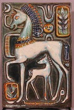 Art Deco Tile of Horses by Walter Bosse, Egyptian Revival style. c. 1930's Ceramic Wall Art, Tile Art, Art Nouveau Tiles, Mid Century Art, Art Deco Period, Equine Art, Panel Art, Decorative Tile, Art Deco Design