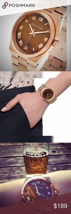 """NWT Womens Michael Kors Rose Gold Channing Watch NTW Authentic Michael Kors Rose Gold Channing Watch  This NEW Beautiful Rose Gold Watch will quickly become your Favorite thing to Wear.  It is completely Versatile so whether you are wearing it with a Dress or just some Casual Shirt and Jeans it will Complete the Outfit.  This Watch also features a """"Tiger Eye"""" Dial which makes it stand out from other Watches.  It is not too Oversized or Small, it's a perfect size.  Moda Boutique SF Moda Black…"""
