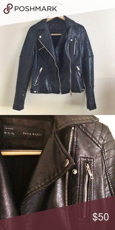 Zara Leather Jacket Super cute black moto jacket from Zara. It's in near perfect condition with hardly any signs of wear! Zara Jackets & Coats