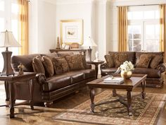 OXFORD - TRADITIONAL BROWN BONDED LEATHER SOFA COUCH SET LIVING ROOM FURNITURE #Traditional