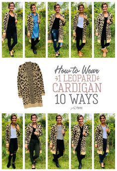 How to Wear 1 Leopard Cardigan 10 Different Ways! My love for all things leopard runs deep! It's a neutral, right? Check out the ten ways I styled this cute cardigan! It is perfect for fall and winter and would be a great piece for a capsule wardrobe! Leopard Cardigan Outfit, Leopard Sweater, Cardigan Outfits, Camo Shirt Outfit, Chambray Shirt Outfits, Leopard Shoes Outfit, Winter Cardigan Outfit, Leopard Print Scarf, Cardigan Fashion