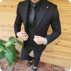 Black men fashion - Black Men Suits for Wedding Groom Wedding Tuxedos Groomsmen Suits Coat Pants Vest Wide Peaked Lapel Slim Terno Masculino Prom Party All Black Mens Suit, New Mens Suits, Tuxedo For Men, Mens Fashion Suits, Black On Black Suit, All Black Tuxedo, Black Tuxedo Wedding, Prom Suits For Men, Prom Tuxedo