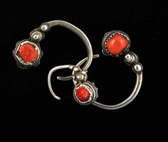 Great Kabyle earrings | Silver, coral and enamel. Sourced in Algeria