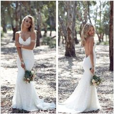 Bohemian Lace Backless Wedding Dress with Spaghetti Straps 0047 · Onlyforbrides · Online Store Powered by Storenvy