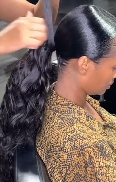 Black Ponytail Hairstyles, Hair Ponytail Styles, Braided Hairstyles, Curly Hair Styles, Natural Hair Styles, Ponytail With Braiding Hair, Ponytail With Weave, Low Ponytails, Natural Hair Tutorials
