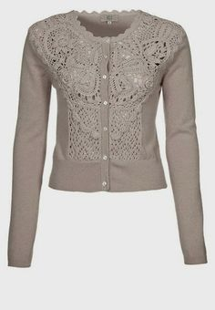 Outstanding Crochet: Noa Noa cardigan with crochet/knitted front.       ♪ ♪ ... #inspiration_crochet #diy GB http://www.pinterest.com/gigibrazil/boards/