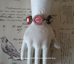 Vintage Button Bracelet Assemblage Bracelet by CharmainesWhimzy