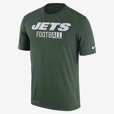 REPRESENT YOUR TEAM The Nike Legend All Football (NFL Jets) Men's T-Shirt features a color-blocked team graphic on lightweight, breathable fabric that wicks sweat from the skin. Benefits Dri-FIT fabric helps keep you dry and comfortable Rib crew neck with interior taping for comfort Product Details Fabric: Dri-FIT 100% polyester Machine wash Imported
