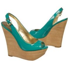 Light up the night in the sexy chic turquoise BONITA TOO wedge sandals from Fergie.
