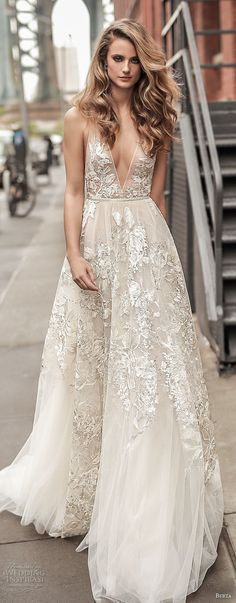 berta spring 2018 bridal spaghetti strap deep plunging v neck full embellishment sexy romantic a  line wedding dress open back chapel train (1) mv -- Berta Spring 2018 Wedding Dresses