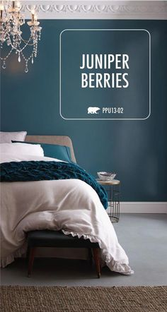Give your master bedroom a dark and moody style with BEHR Premium Plus Ultra Interior Hi-Gloss Enamel in Juniper Berries. This bright, shiny radiant sheen has a durable, glass-like enamel finish that makes the architectural details of the trim and molding in this room pop. This interior paint can be used on trim, cabinets, furniture and in your kitchen and bathroom. Click here to learn more.