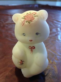 #FENTON - Opal Satin #Bear #Handpainted with #Roses, Lace and Bows