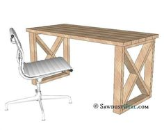 diy desk X Leg Desk Plans looks like a basic DIY project that you could finish a thousand different ways. Would fit in with rustic, barn decor nicely. Diy Wood Desk, Rustic Desk, Diy Desk, Rustic Barn, Diy Computer Desk, Diy Tall Desk, Desk Plans Diy, Rustic Office Desk, Table Plans