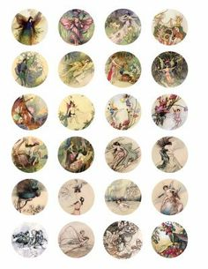 vintage Victorian fairy butterfly flower fairies fantasy clip art digital collage sheet 1.5 inch circles>