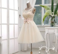 Gorgeous Champagne Lace Ball Gown Knee Lenth Prom Dress, Lace Prom Dress, Homecoming Dresses on Luulla