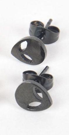 Alien head black or silver stud earrings