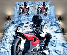 Motocyklista realistyczna pościel niebieska 3D