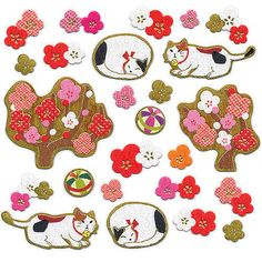 Cat Stickers - Japanese Washi Paper Stickers - Plum Blossom Stickers S81