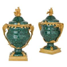Pair of Louis XVI style ormolu mounted malachite vases | French | 20th Century. More details online at mayfairgallery.com Antique Vases, Louis Xvi, Malachite, Porcelain, Pairs, Japanese, French, Antiques, Glass
