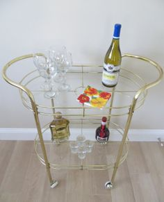 Mid Century Modern Brass Two Tiered Bar Cart by SoulfulVintage, $325.00