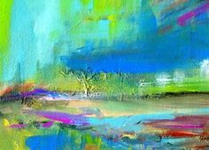 nachtstimmung  abstrakte Malerei Landschaft  Acryl