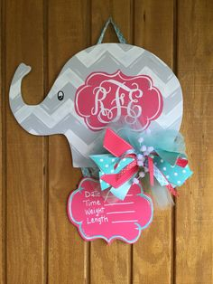 Wood Baby Door Hanger for the nursery or hospital. Bottom part is stapled on to the elephant and can be detached later by removing staple or Hospital Door Hangers, Baby Door Hangers, Wooden Door Hangers, Baby Elephant Nursery, Babies Nursery, Elephant Theme, Baby Elefant, Kindergarten, Kids Wood