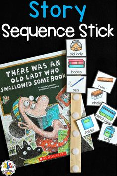 Using the There Was An Old Lady Who Swallowed Some Books Sequence Stick is a hands-on way to retell the story and put the items in sequential order. Enrichment Activities, Sequencing Activities, Book Activities, Activity Books, Therapy Activities, Preschool Books, Preschool Learning, In Kindergarten, Preschool Ideas