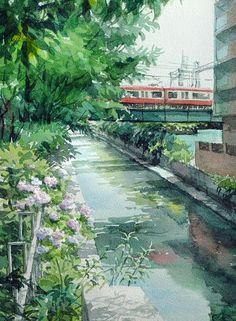 Takashi Akasaka: Yokohama in June Watercolor Scenery, Art Watercolor, Watercolor Landscape, Watercolor Illustration, Fantasy Landscape, Landscape Art, Train Art, Art Anime, Environment Concept Art
