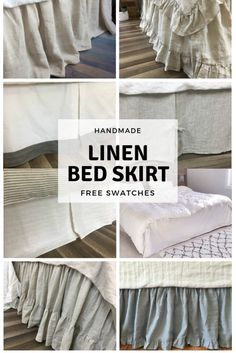 Linen bed skirt with gathered ruffle or tailored pleats. Custom made drop length for your preference and detachable design to easy laundry. King Bed Sheets, Cal King Bedding, King Beds, Comforter Sets, White King Size Bed, King Size Bed Skirt, Ruffle Bedding, Linen Bedding, Linen Fabric