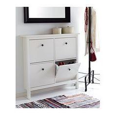 HEMNES Skoskab 4 fag - hvid - IKEA  Add leather handles instead...