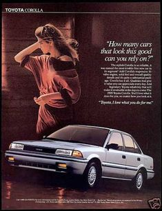 spouse said that's why I bought the car. No black, same color on front and rear bumpers. Loved that car! Toyota Corolla, Corolla Car, Corolla Hatchback, Ae86, Toyota Cars, Team Toyota, Toyota Vehicles, Car Posters, Car Advertising