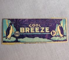 Cool Breeze Sperry Homaid Vintage Candy Bar Wrapper 1 Cent Package 1930s Penguin