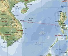 This is a map of the South China Sea. Every 3 months or so the Sanctuary would steam from Danang to the U.S. Naval base at Subic Bay, Philippines for a 10 day rest and refit.  ©Fred LaVenuta