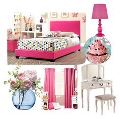 """""""dream pink room"""" by magy662520 ❤ liked on Polyvore featuring interior, interiors, interior design, home, home decor, interior decorating, Poundex and LSA International"""